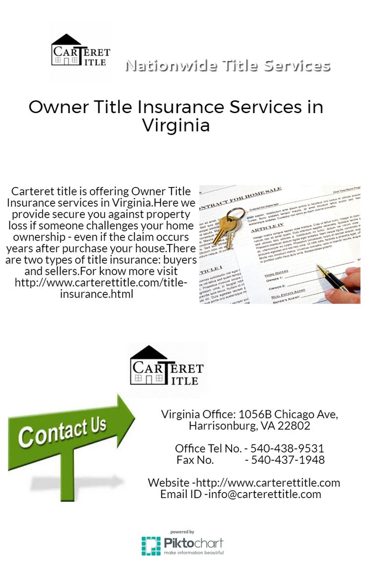 Owner Title Insurance Services in Virginia Carteret title is offering Owner Title Insurance services in Virginia.Here we provide secure you against property loss if someone challenges your home ownership - even if the claim occurs years after purchase your house.There are two types of title insurance: buyers and sellers.For know more visit http://www.carterettitle.com/title-insurance.html old republic title insurance, lender title insurance, title insurance agent, owner title insurance…