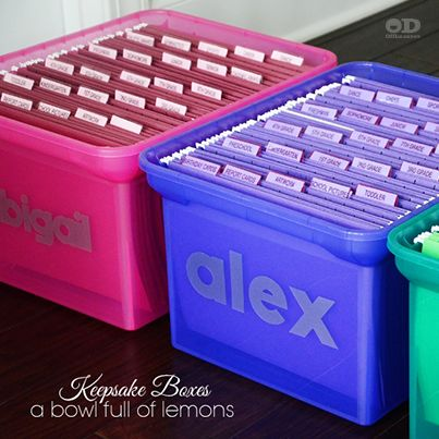 I need this for my triplets!!!  Trying to organize your child's keepsakes? Let A Bowl Full of Lemons show you how.