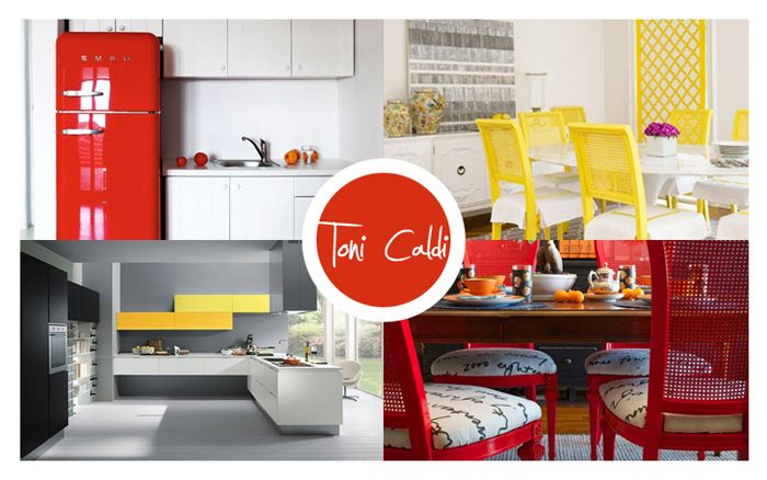 Pareti colorate rosse o gialle in casa