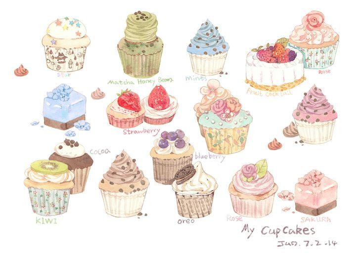 水彩画 水粉画 插画 手绘 美食 蛋糕