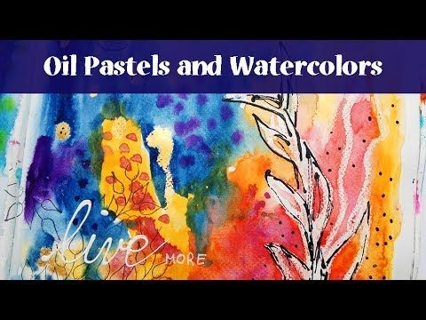 Easy Art Journal Page with Oil Pastels and Gansai Tambi Watercolors and Rubber Dance Stamps