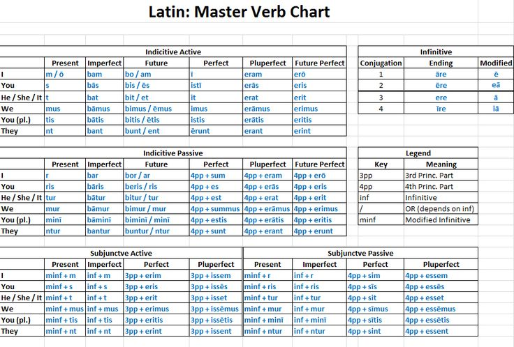 latin verb conjugation chart - Google Search