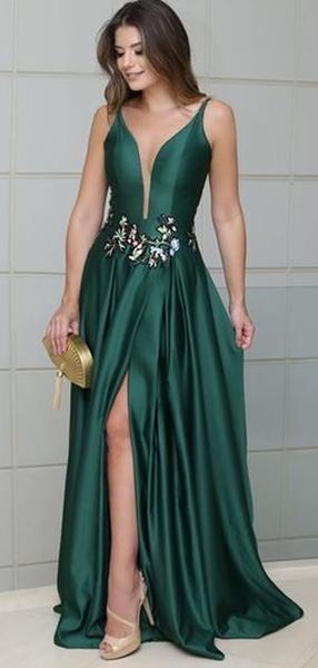Emerald Green Long Satin Side Slit Embroidery Prom Dresses f16b8ed856f3