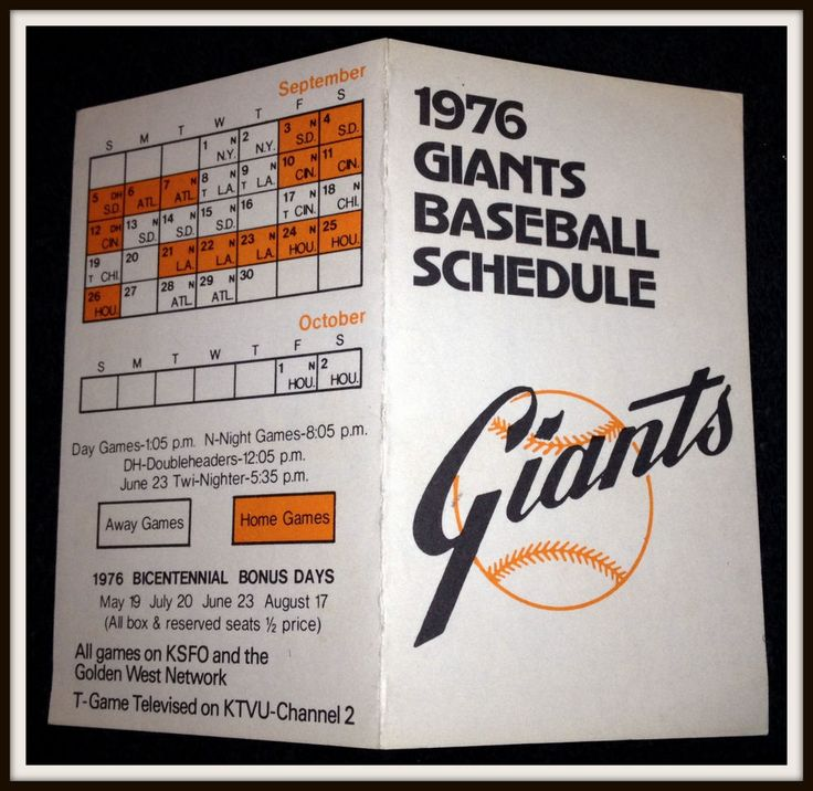 1976 SAN FRANCISCO GIANTS OFFICIAL BASEBALL POCKET SCHEDULE FREE SHIPPING #sfgiants #Pocket #PocketSchedules