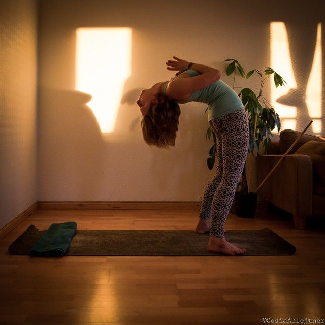 standing back bend, preparing for drop back, to bridge yoga pose