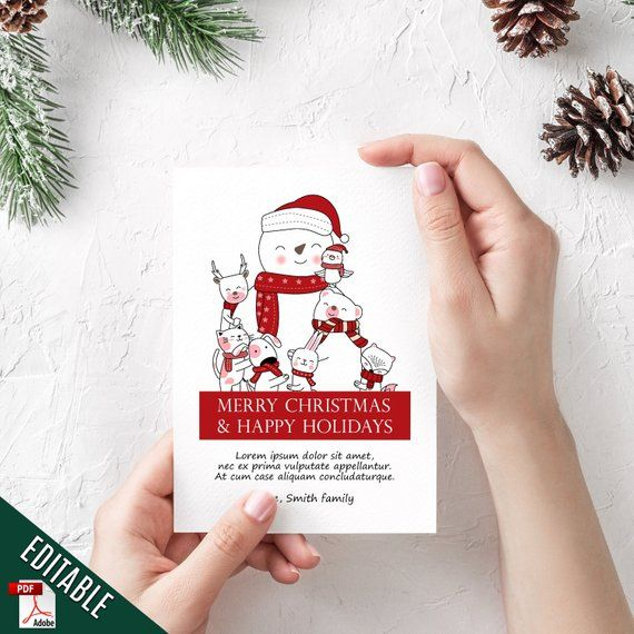 Editable Christmas Card Kids Editable Christmas Template Christmas Invitation P Merry Christmas Happy Holidays Christmas Invitations Christmas Greeting Cards