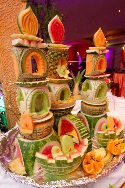fruit carvings on a dessert buffet...