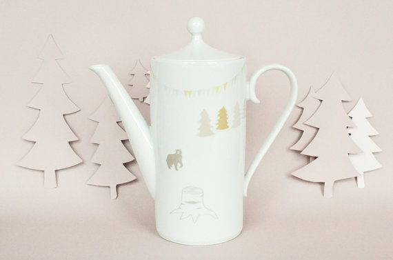Teapot with a bear trees and banner by StudioRobinPieterse on Etsy, $60.00