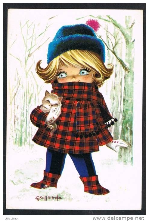 Illustrator Gallarda - Girl in Winter with Cat Chat