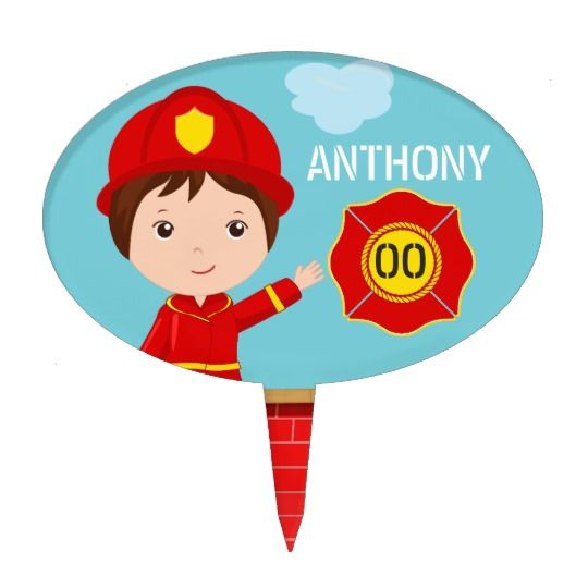 Firefighter themed Birthday Party Cake Topper