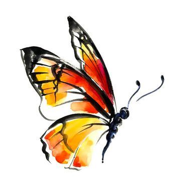 Monarch Watercolor Butterfly Tattoo Design