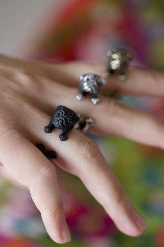 YaciKopo handmade Pug dog ring black / silver / golden von yaci, $70.99