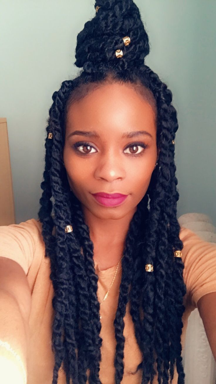 Havana Twists With Gold Clips Braids In 2020 Marley Twist Hairstyles Twist Hairstyles Hair Styles