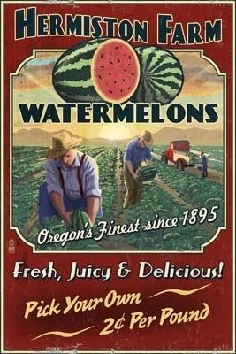 Love those watermelons!! Hermiston, Oregon Watermelon Field Vintage Sign - Lantern Press Poster