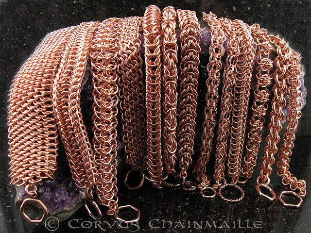 From left to right: Dragonscale Alligator Back Interwoven 4in1 European 4in1 on the bias Box Chain Byzantine Elfweave Captive 2in1 Chain Halo Persian Dragonspine Sprite Chain Jens Pind Linkage Hoodoo  #chainmaille