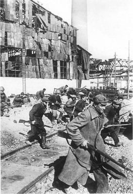 After the last tank rolled off the assembly lines at Stalingrad, workers were issued arms and went to the front to defend the city.  Workers Militia, Stalingrad 1942