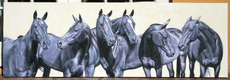 Commissioned portrait of Allesandro Balestri's pony string. Oil on canvas. 60cm x 180cm