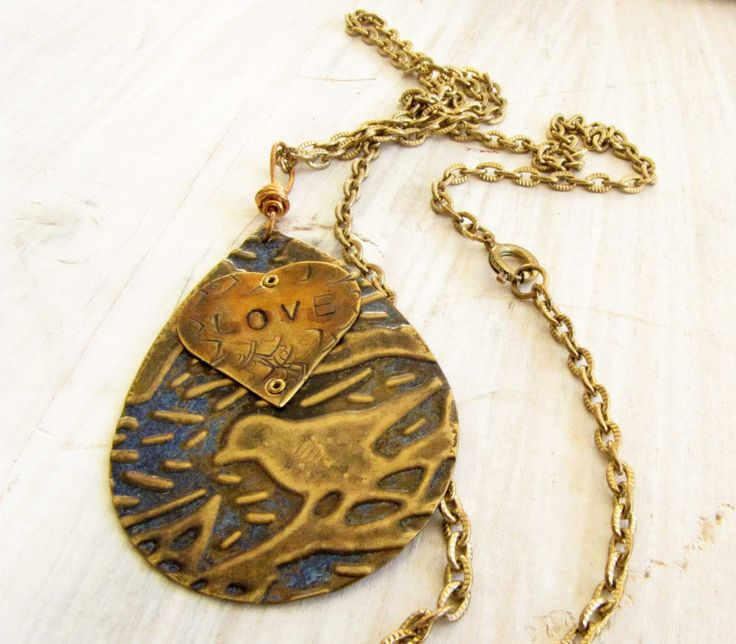 Bird Pendant With Love Stamped Heart Etched  Blue by Readesign, $35.00