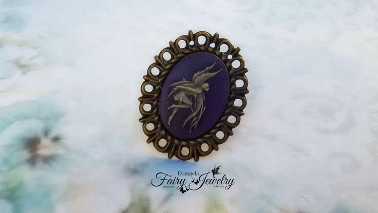 Anello cammeo fata viola e  bronzo regolabile, by Evangela Fairy Jewelry, 5,00 € su misshobby.com
