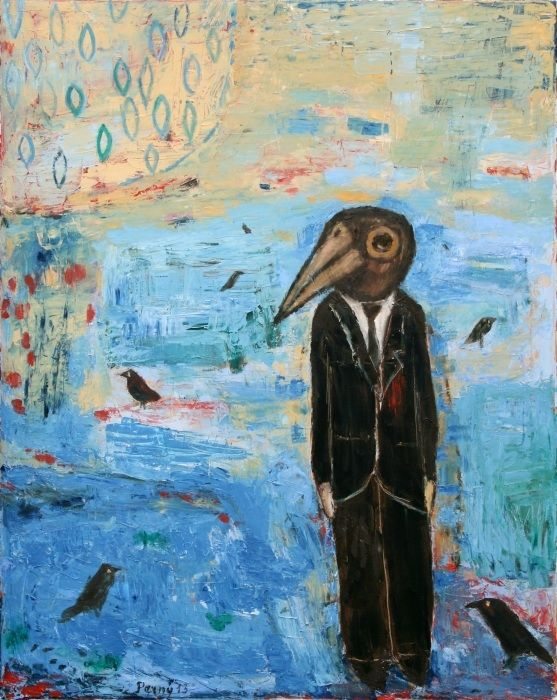 I'm a strange bird, 2013, oil on canvas, 100 x 80 cm by Jindřich Pevný