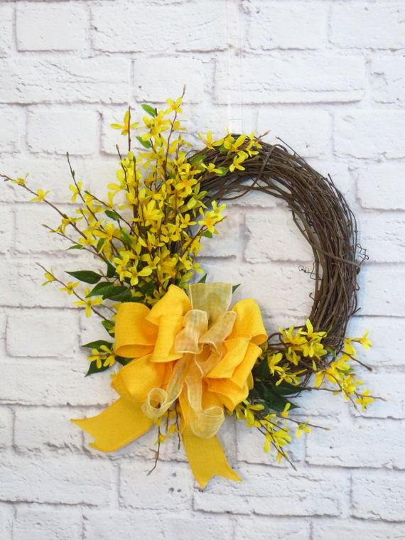 front door hangingsThe 25 best Forsythia wreath ideas on Pinterest  The frugality