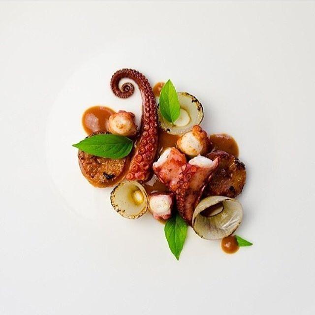 Roast octopus, chorizo, shallots, basil with smoky paprika provençale sauce. ✅ By - @phin_prak ✅ #ChefsOfInstagram