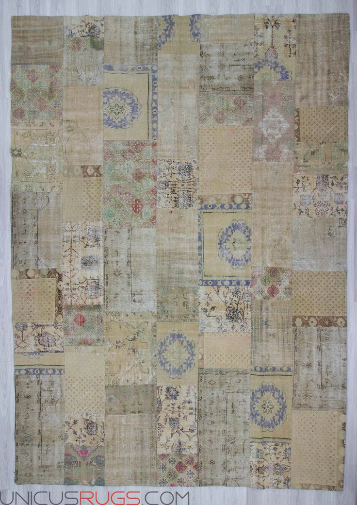 "Vintage decorative patchwork made from hand-knotted Turkish rug pieces and backed with good quality cotton fabric as reinforcement. In very good condititon. Width: 10' 0"" - Length: 13' 11"" PATCHWORKS"