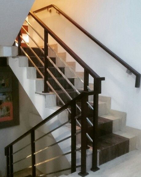 Staircase Railing Mix Material Redwood Stainless Minimalist Design Residential Project
