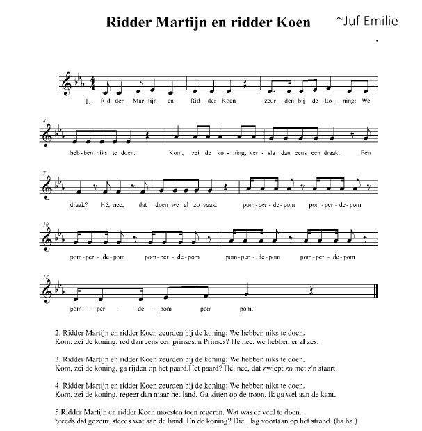 Lied Ridder Martijn en Ridder Koen Partituur, notennamen. ~Juf Emilie Dewispelaere