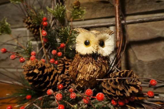 Darling little owl wreath to add to your fall, winter or Christmas decor or front door. Fun rustic and woodsy accent wreath for a cabin or