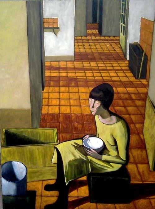 Felice Casorati - Ragazza con scodella, 1920 scodella; ciotola 瓷碗, 饭碗, 钵