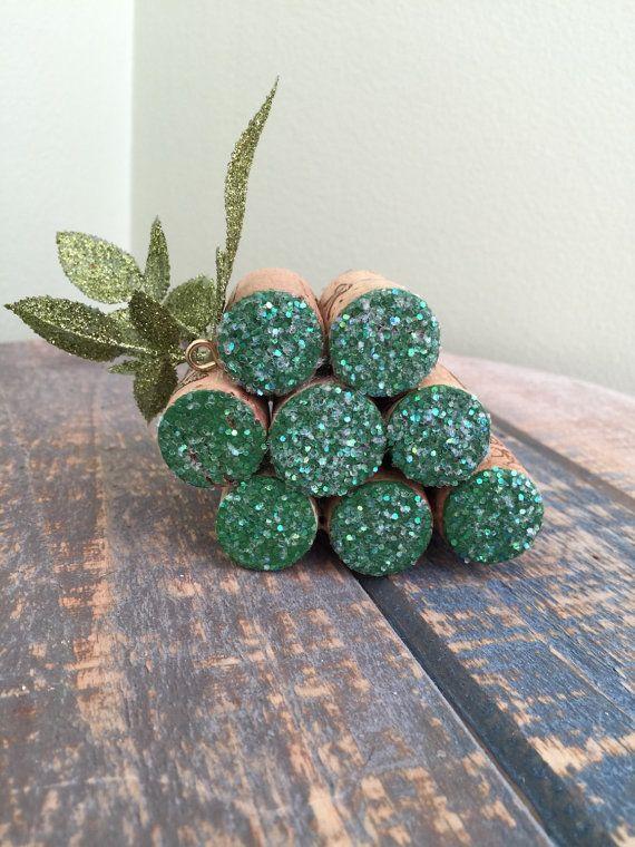 Wine Cork Grapes (green) Christmas Ornament