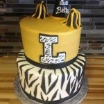Cheerleader with Tiger Stripes Birthday Cake
