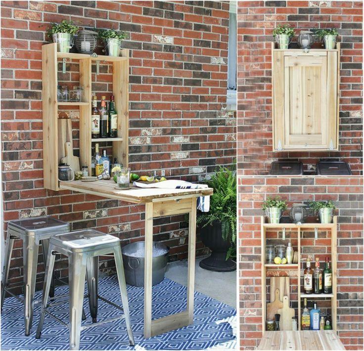 Stehtisch für Garten - 16 Ideen für dekorativen und nützlichen Gartentisch (Diy Bench)