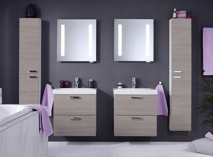 Badrumsskåp från Logic. Eleganta och funktionella badrumsmöbler i färgen Woody Grey från Logic-serien. |GUSTAVSBERG
