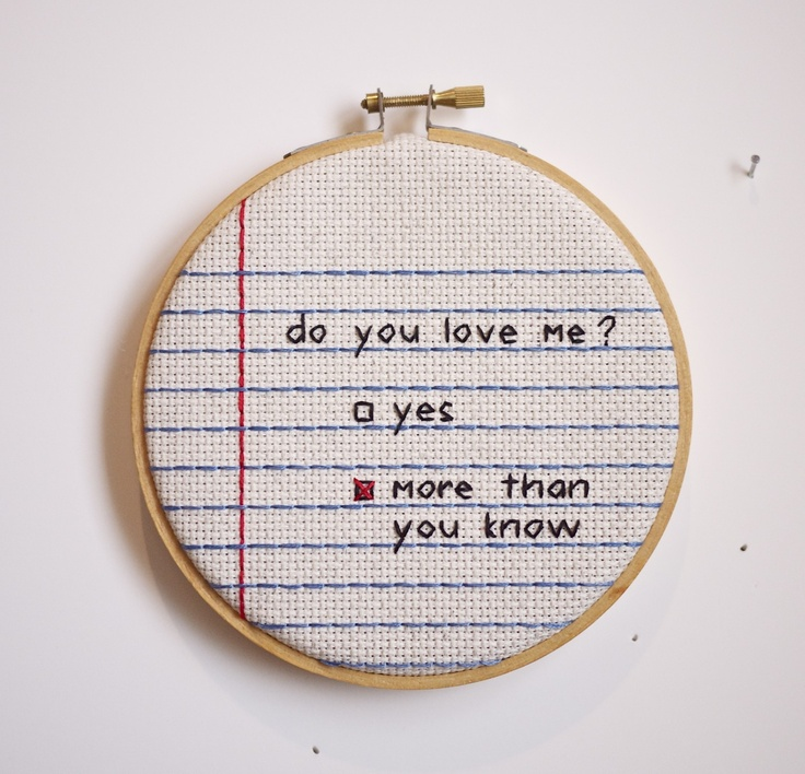 """notebook paper wall hanging cross stitch love wall hanging...such a sweet idea, could be embroidered with a special little """"inside joke"""" or pet names"""