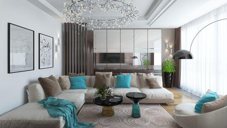 Уютная квартира | Уютная современная гостиная. Деталь дня: бирюзовые акценты в интерьере