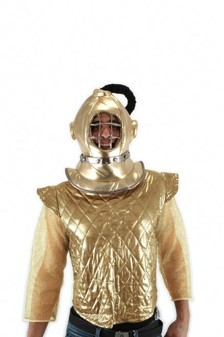 Gold Diving Bell Helmet - This old school diving costume helmet is gold and plush. It pull over your head like a toque and is a soft padded hat. The grill in front is made of padded tubes of fabric. There is a black padded breathing hose coming out the top. Great for an old diver's costume, gold digger or under the sea themes. #diving #yyc #helmet #costume