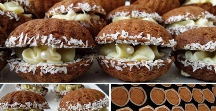 Orechové mušle so žĺtkovým krémom - Receptik.sk
