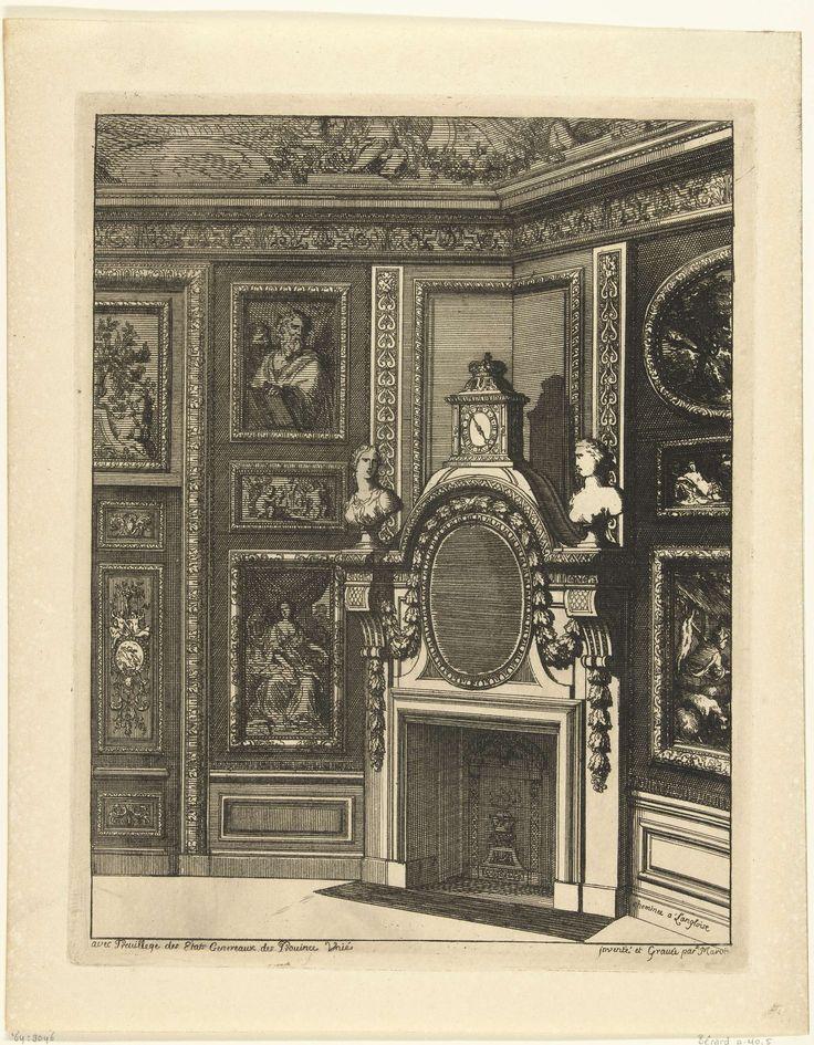 Daniël Marot (I) | Engelse onderboezem, Daniël Marot (I), 1673 - in or before 1703 | De onderboezem is in een hoek geplaatst. Tussen de schoorsteenboezem en de gebogen kroonlijst hangt een ovale spiegel, boven de kroonlijst is een koepel met een bekroonde klok. Uit serie van 6 bladen.