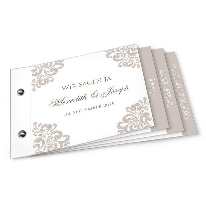 Gestalten Sie Jetzt Online Unsere 8 Seitige Einladungskarte Zur Hochzeit  Mit Barocken Elementen In Weiß Und Taupe ✓ Kostenlose Musterkarte ✓  Schneller ...