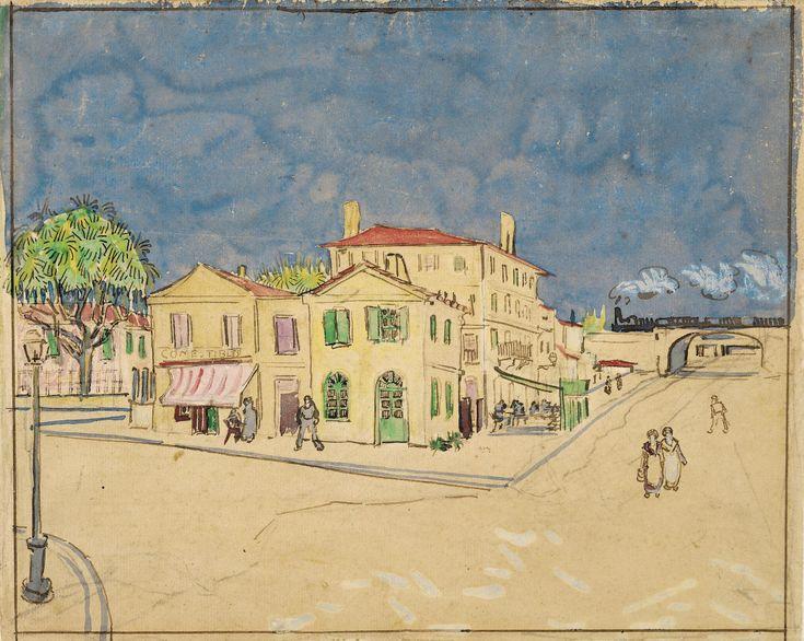 In oktober 1888 maakte Van Gogh deze aquarel van het 'gele huis': zijn woning aan de Place Lamartine in Arles. De kunstenaar wilde van dit gele hoekpand met groene luiken een kunstenaarshuis maken, waar hij samen met zijn vriend Paul Gauguin en andere schilders kon leven en werken.