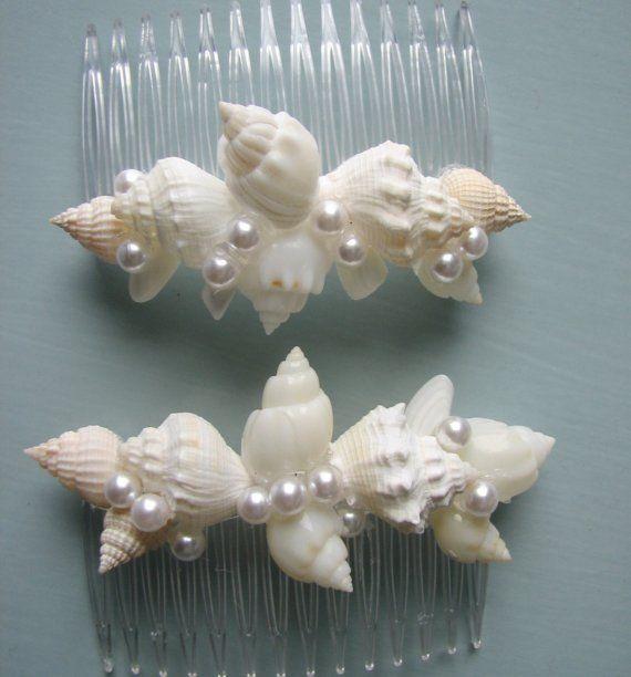 Beach Wedding Seashell Hair Combs  Shell Hair by beachgrasscottage, $22.00