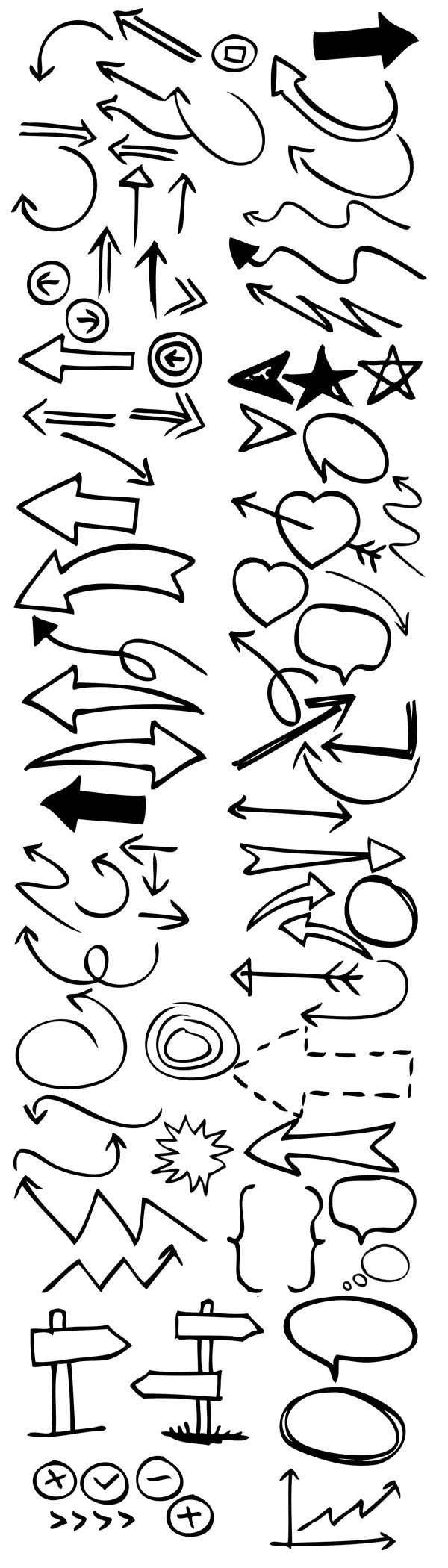 90 Hand drawn arrow & symbol photoshop brushes - free