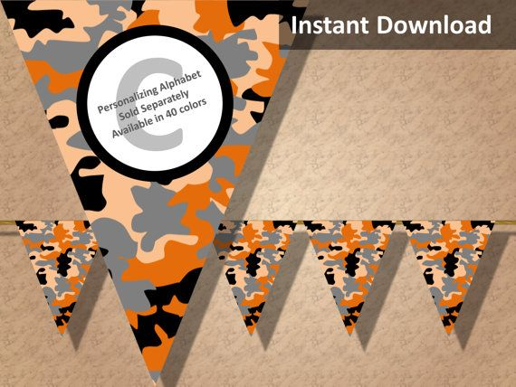 Orange camo party banner! Perfect for a hunting, military, camping or lazer tag party! Find more printable camouflage party decorations at CameoPartyDesigns.etsy.com #camoparty #camouflageparty #partydecorations