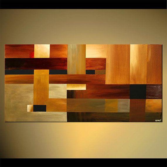 48 x 24 contemporáneo Original pintura abstracta por OsnatFineArt Más
