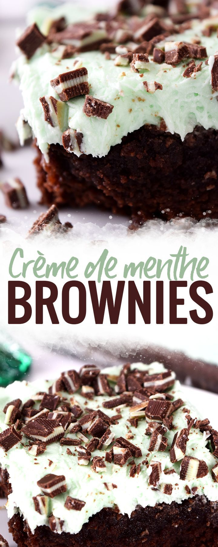Creme de Menthe Brownies - these Crème de menthe brownies bring together mint buttercream frosting, liqueur and fudge brownies into one delicious treat. Top with Andes mints and you have a winner.  #Brownies #Cremedementhe #mint #dessert #holidaydessert