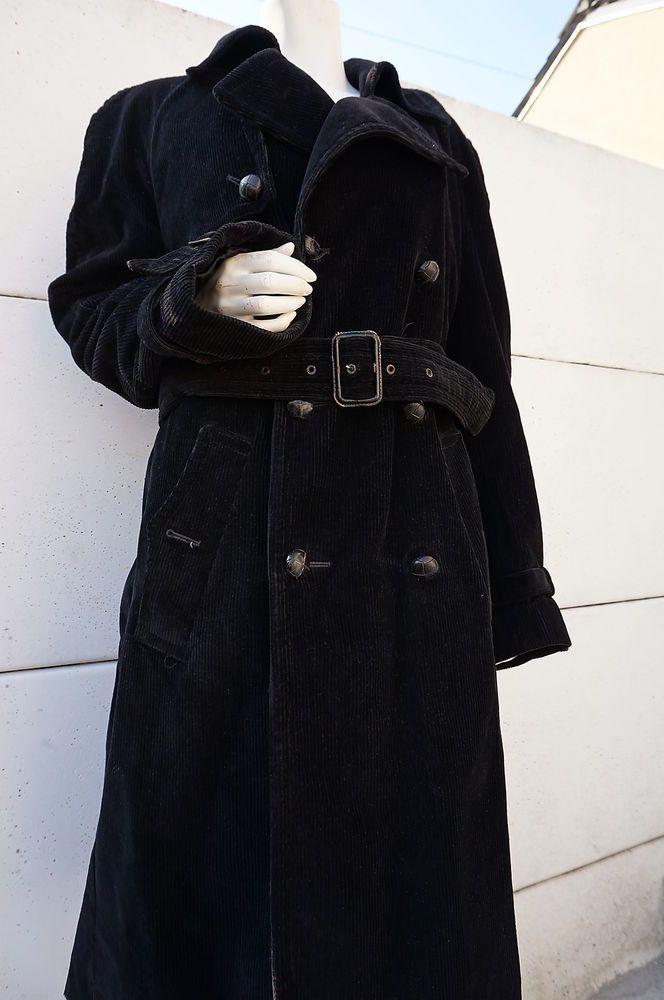 manteau Coat Taille XL Trench Velours cotelé  Dandy Hippy  mcGregor redingote