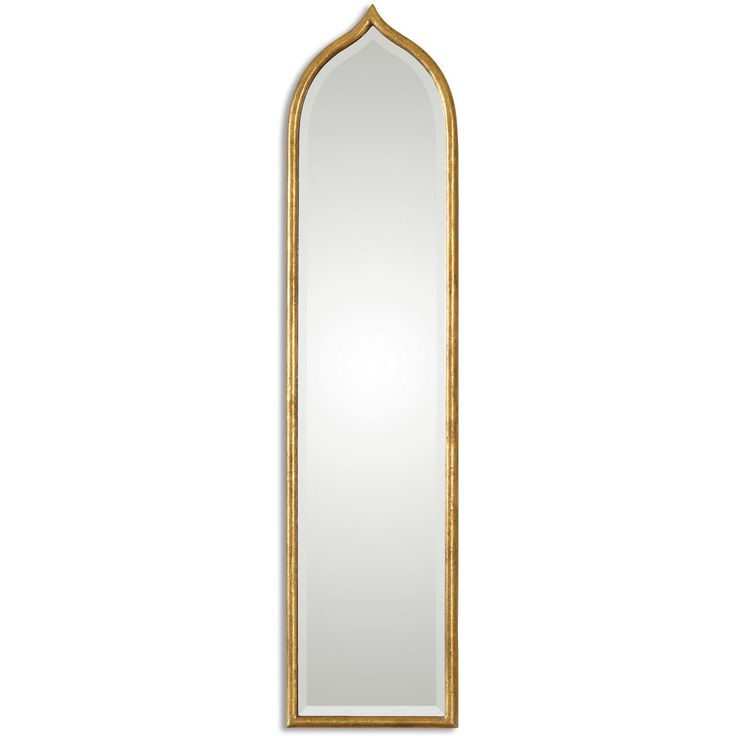 Enhance the look of any room with this beautiful beveled mirror. This mirror includes a beautiful bevel with an antiqued gold leaf round metal frame finish