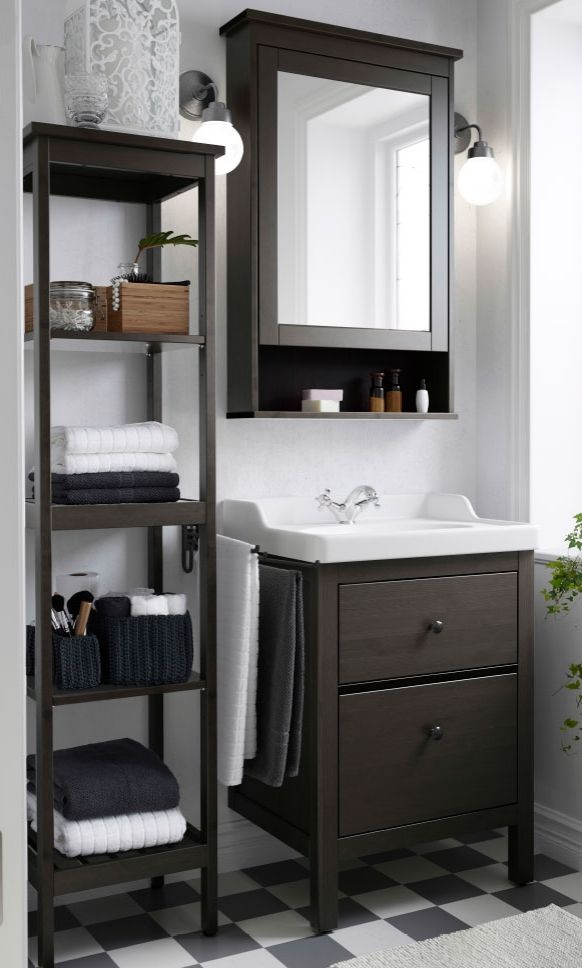 Make the most out of small bathroom spaces like using the HEMNES sink cabinet, shelf and mirror cabinet to stay organized in style.
